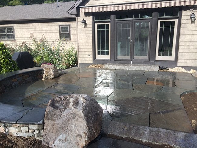 CR Hardscapes designed this patio with feature stones in Bow NH