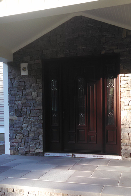 Stone veneer in an entryway in Weare New Hampshire