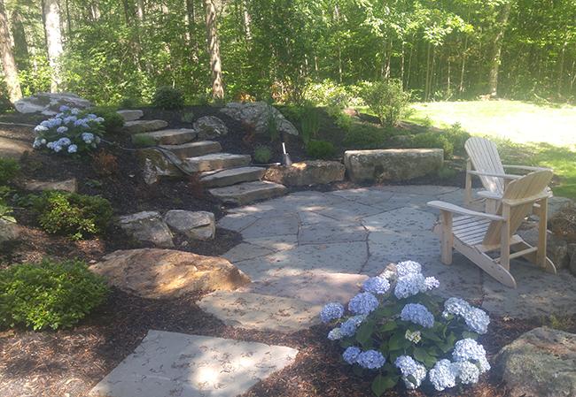 Bluestone patio in Dunbarton New Hampshire by CR Hardscapes