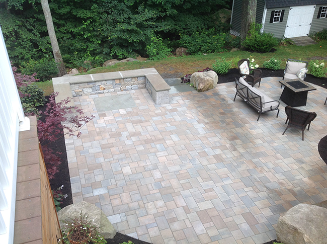Landscape Contractor CR Hardscapes installed this paver patio in Bedford NH
